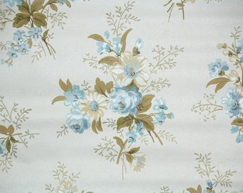 Retro Wallpaper by the Yard 70s Vintage Wallpaper - 1970s Blue and Beige Rose Floral on Cream