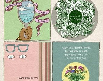 Uplifting comic art print - recycled paper