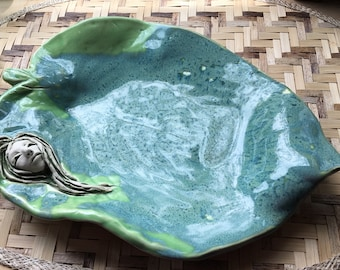 Handmade Leaf Platter with Nymph Sculpture Jungalow Style