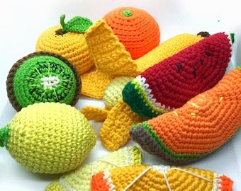 Crochet pattern-crochet melon-crochet banana-Crocheted Fruit Set-Pretend Play food-crochet kiwi-Watermelon-crochet orange-crochet lemon-pdf