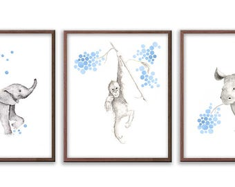 Safari Animal Nursery Art, Elephant Nursery Decor, Orangutang, Rhino Art prints for Baby Nursery, Watercolor Baby Animal Art -  S097