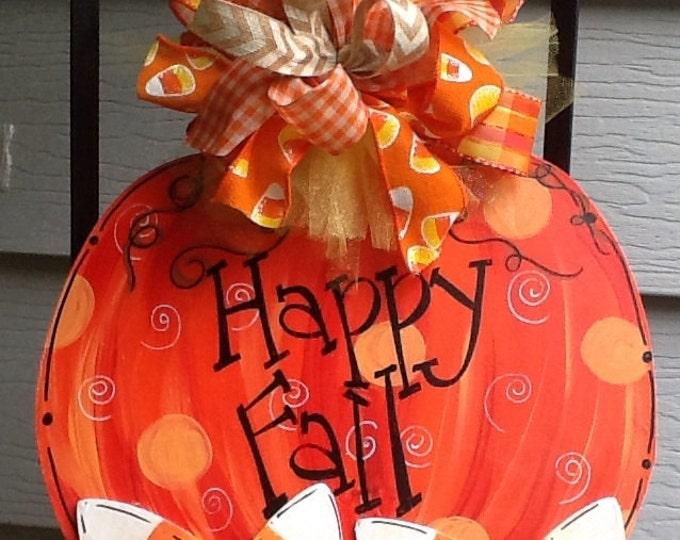 Pumpkin door sign, pumpkin door hanger, pumpkin sign, candy corn sign, candy corn door sign, happy fall sign, happy fall y'all sign,