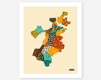 BOSTON NEIGHBORHOODS (Giclée Fine Art Print/Photo Print/Poster Print) by Jazzberry Blue