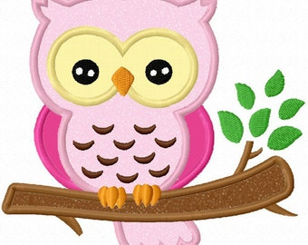 Owl On Branch Applique Machine Embroidery Design NO:0017