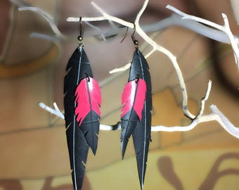 Handmade feather earrings made from recycled bike tire REDWINGBLACK