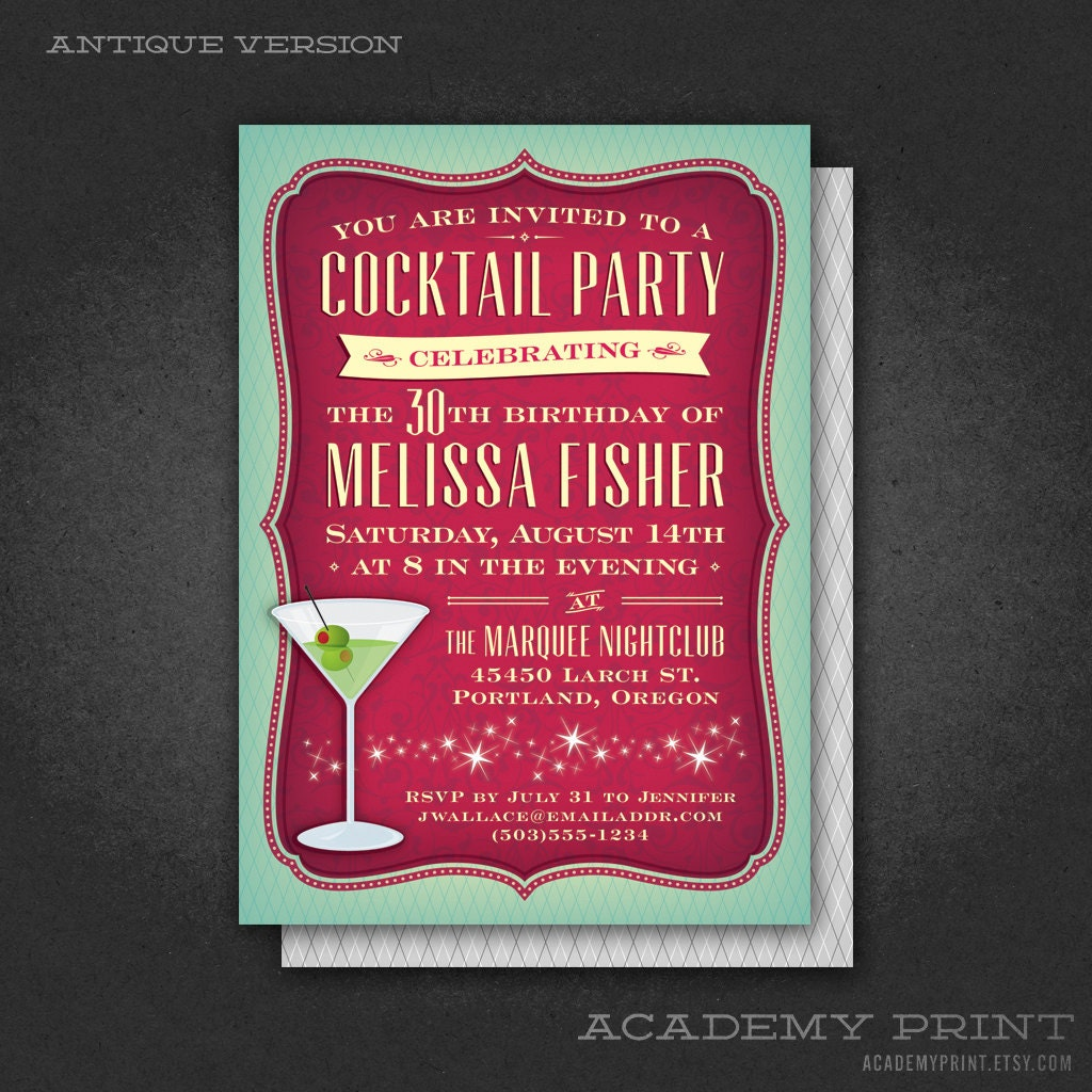 Printable cocktail party birthday invitation with martini zoom stopboris Choice Image