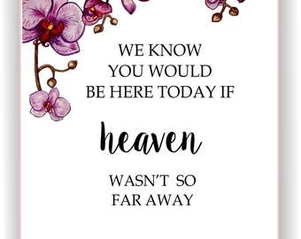 If Heaven Wasn't So Far Away Sign, Wedding Memorial Sign, In Memory Of, Printable Remembrance Sign, We Know You Would Be Here Today