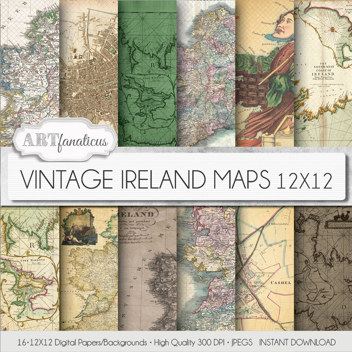 Vintage Maps Digital Paper VINTAGE IRELAND MAPS - Old maps of dublin