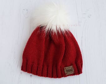 Faux fur pom pom hat-hand knitted baby beanie-red knit hat-baby winter hat-red pom pom hat-3-6 months beanie-baby photo prop-baby boy gift