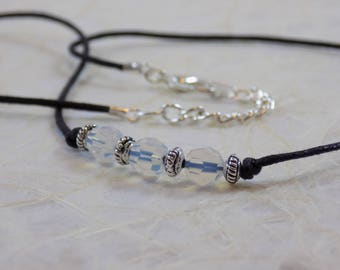 Opal Crystals on Black Waxed Cord Necklace