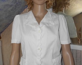1950's White Cotton Blouse, Short Sleeved White Cotton Blouse, Swing-Rockabilly Blouse - Size S-M (37)