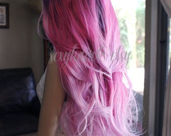 READY TO SHIP Ombre Front Lace Wig, Purple, Hot Pink, Pink Wig, Unicorn, Fairy Wig, Cosplay, Rave, Pastel Goth, Thick Wig, Mermaid Hair