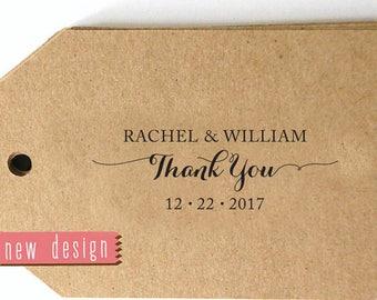 Thank You CUSTOM ADDRESS STAMP, pre inked stamp, thank you card, favor tag, calligraphy address stamp - Stamp b5-55R