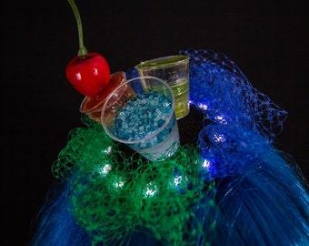 Light-up Cocktail fascinator, festival headwear, clubbing hair accessory, burlesque headdress, cosplay costume accessory, nerd hat