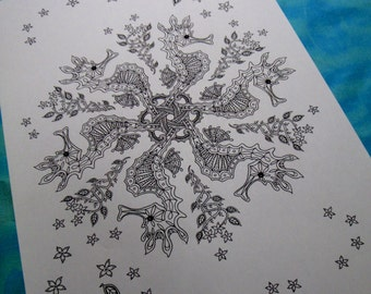 Seahorse Snowflake... colouring page, for adult colorists