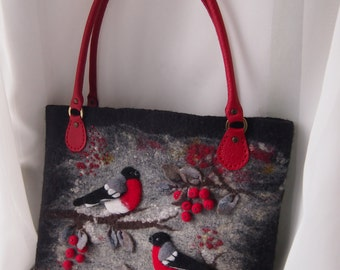Felted women bag handbag-Bullfinches-Felted wool purse-Felted purse-Art handbag-Natural Leather-Felt bag-Red,Black