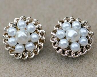 Faux Pearl Cluster Earrings Made in Japan Vintage