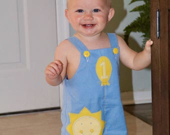 You Are My Sunshine boys first birthday bubble romper - blue and yellow