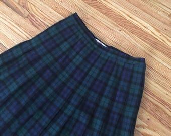 60's Pendleton Tartan Wool Pleated Midi Skirt