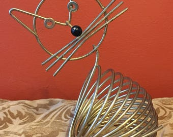 Mid Century Modern Coiled Wire Mail Holder Cat Desk Top Gold Tone