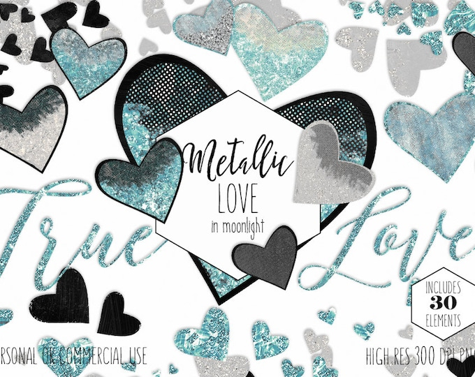GLAM HEARTS METALLIC Clipart Commercial Use Clip Art True Love Silver Glitter Aqua Teal & Black WordArt Heart Confetti Wedding Graphics