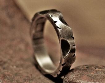silver ring, vintage ring, menly ring, pattern ring, vine pattern, mens ring, rustic ring