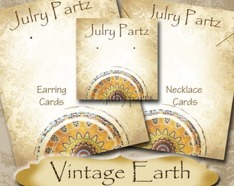 VINTAGE EARTH Series 6•Custom Tags•Labels•Earring Display•Clothing Tags•Custom •Boutique Card•Tags•Custom Tags•Custom Labels