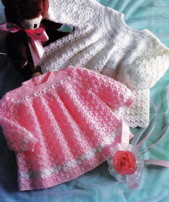 Vintage Baby Crochet Pattern Baby Dress Or Angel Top 2