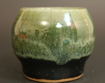 Green and Black Small Container with candle