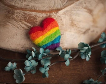 Felted Mini Rainbow Heart Stuffie Photography Prop Newborn Props Baby