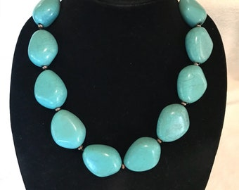 Huge Faux Turquoise Sterling Silver Statement Necklace