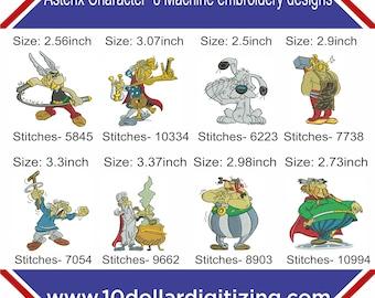 Asterix character machine embroidery designs,cacofonix dogmatix fulliautomatix geriatrix getafix obelix vitalstatistix machine embroidery