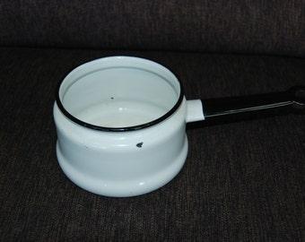FREE SHIPPING White Enamelware Pot with Black Trim