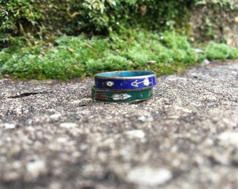 Sz 8 Earth and Sky Cloisonné Stacking Rings