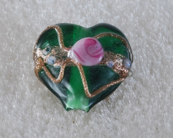 Vintage Green Glass Heart Lampwork Beads Jewelry Making 12mm Set of 4