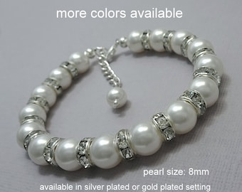 White Pearl Bracelet, Bridal Bracelet, Bridesmaid Bracelet, White Pearl Bracelet, Mother of the Bride Gift, Wedding Bracelet, Swarovski