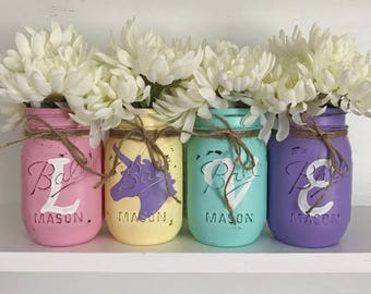 Love Unicorn painted Mason Jar Set, Rainbow Unicorn, Set of 4 pint size Mason jars, Nursery or Girls room decor