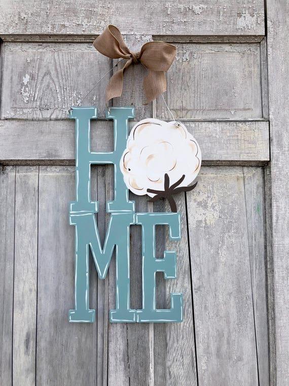 Cotton Boll, HOME door hanger, cotton door hanger, hand painted welcome sign, spring door hanger, Home sign, Southern door hanger