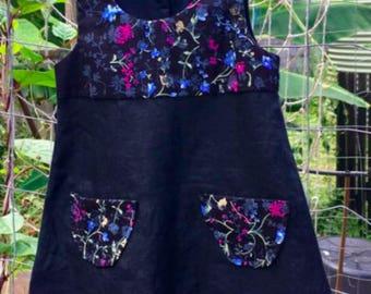Girls dress from vintage linen - 'The Rambling Flower Dress'