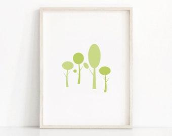 Minimalist Wall Art,  Digital Art Print,  Nature Print, Modern Forest Print,  Nature Decor, Minimalist Print,  Green Decor,  Forest Wall Art