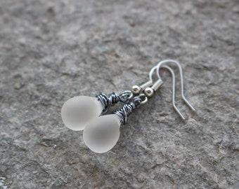 Teardrops earrings, copper wire earrings,frozen glass drop earrings, white dangle earrings, wire wrapped drop earrings, triskell design