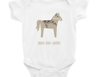 Peace Love + Ponies -- Infant Bodysuit