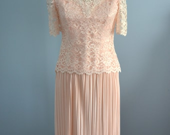 Light Pink LACE Pleated Skirt Wedding Mother Of The Bride Dress by Barbara Chodos