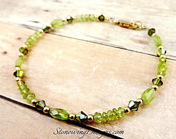 Genuine Peridot Gemstone Bracelet August Birthstone