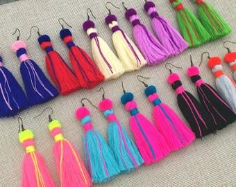 """Lillian Tassel Earrings, 10pcs+ Handcrafted Tassel Pompom Earrings, 2"""" Drop Earrings, Wholesale Jewelry, Wholesale Earrings, Summer Holidays"""
