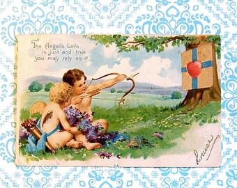 Vintage Angels or Cupids Valentine Post Card Target Practice