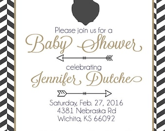 Deer Baby Shower Invitation, Baby Shower Invitations, Deer Baby Shower Printable INVITE, You Choose The Colors