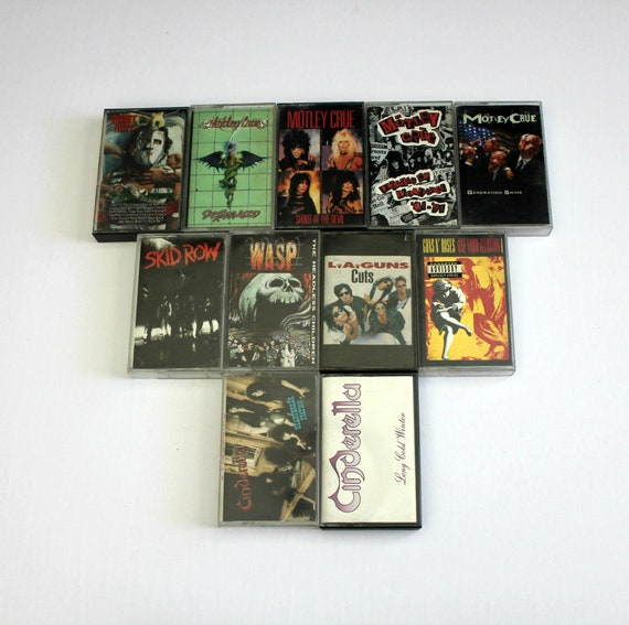 VIntage Heavy Metal Cassette Tape Lot of 11 | Motley Crue | Guns N Roses | Quiet Riot | WASP | Cinderella and more