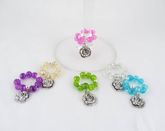 Every Rose Has It's Glass (Set of 6 Flower Themed Wine Glass Charms)