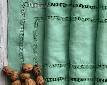Hemstitched Handmade Table Runner in Pure Linen